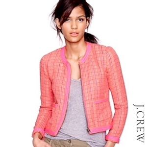 J.Crew Pink Orange Tweed Boucle Blazer Jacket 6